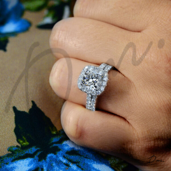 Charming 4.00 TCW Cushion Halo U-Pave Set Diamond Engagement Ring GIA Certified