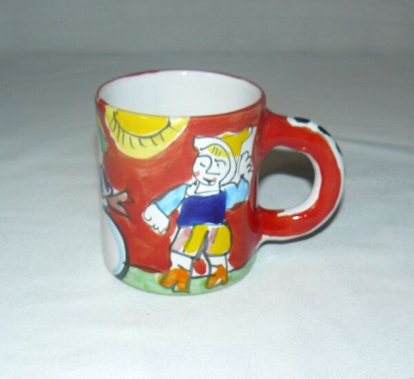 Starbucks Italy 16 OZ Ceramic Hand Painted Snowman With Helper Mug Cup Used