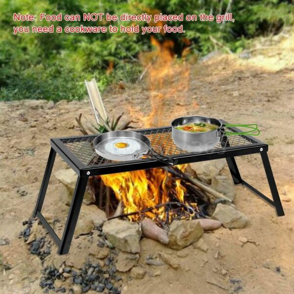 Camping Grill Adjustable Camp Fire Cooking Grate Outdoor BBQ Picnic New G8Q2