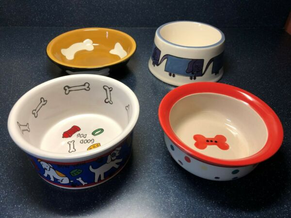 Lot of 4 Pre Owned Dog Dishes Ceramic and Stoneware All In Very Good Condition $14.99