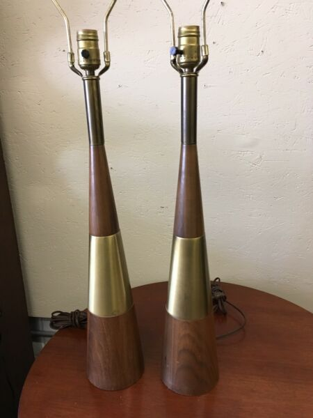 Mid Century Tony Paul Westwood Industries Walnut Brass Lamps