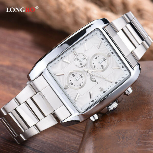 Men Rectangle Watches Stainless Steel Automatic Mechanical Watch Small Seconds
