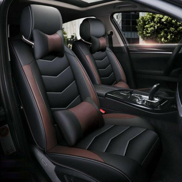 Universal PU Leather 5 Seats SUV Front amp; Rear Car Seat Cover Cushion Full Set $76.99
