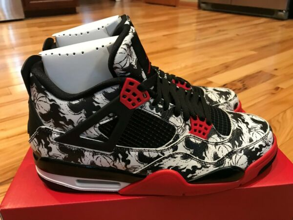 Nike Air Jordan Retro 4 Singles Day Tattoo Black Red White BQ0897-006 Size 11
