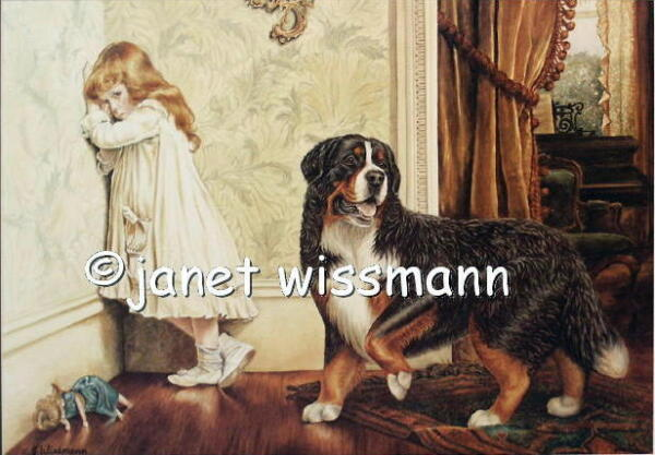 * PAINTING ART PRINT Bernese Mountain Dog