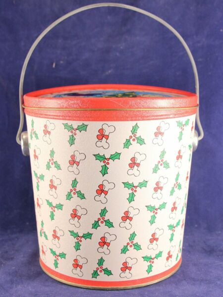 1987 Pound Puppies Christmas Pail Tin With Metal Handle