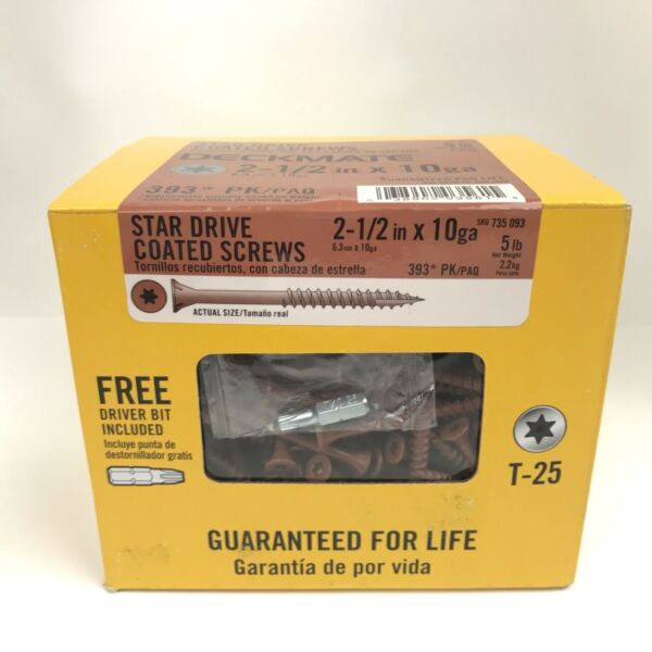 Deck Screws Coated Star Drive #10 X 2-12 in 5 lbs  (approx 393) Brown Deckmate
