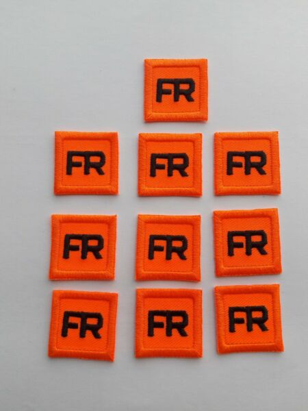 10 Orange Replacement FR Patches Iron On Fire Retardant Pants Shirt Jacket Tag $28.02