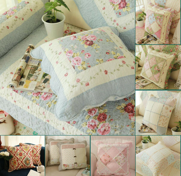 Country Floral 100% Cotton Patchwork Quilted Throw Pillow Cushion Cover
