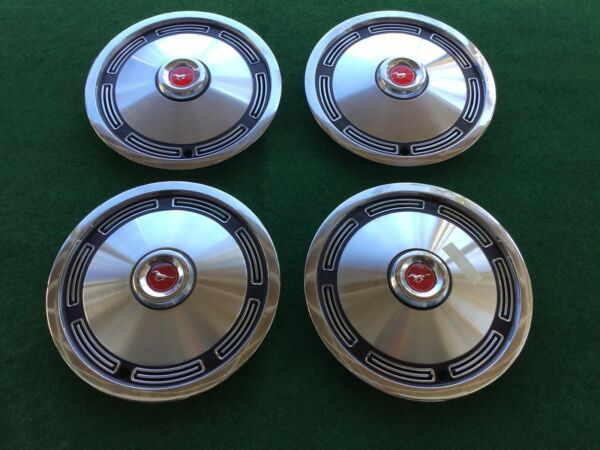 "1974 Ford Mustang Hubcaps NEW 13"" Factory Vintage Wheel Caps Set OEM"