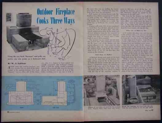 Concrete OUTDOOR FIREPLACE BBQ GRILL 1948 How-To build PLANS