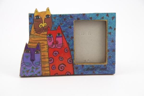Colorful 1999 Laurel Burch Mysicats Picture Frame For Table Top or Wall