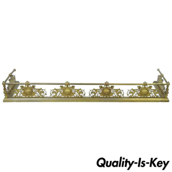 Antique French Louis XV Style Victorian Brass Rose Bird Fireplace Mantel Fender