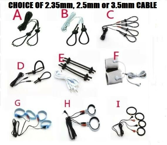 Electro Electric Shock Tens Estim Conductive Fiber Tubes Rings Loops With Cables