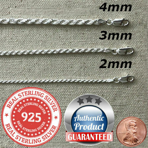 925 Sterling Silver real Italian Silver solid Rope Chain Mens womans Necklace $23.99