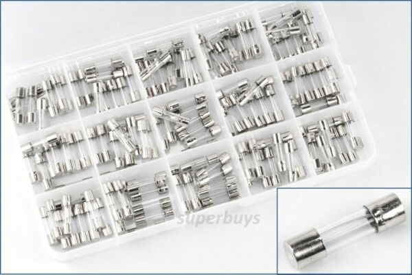 150pcs 0.1A - 20A 20mm Assorted Fast Quick Blow Glass Tube Fuse Fuses Set Kit