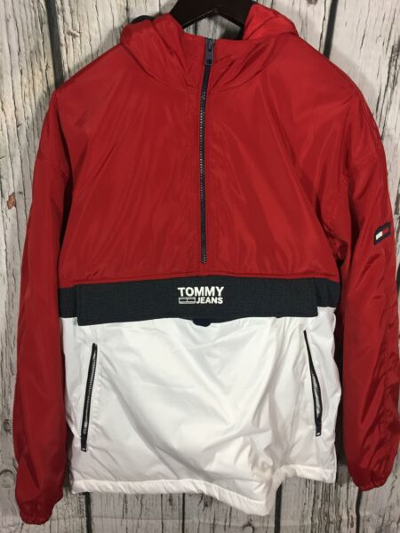 Men's pullover 1 2 zip jacket Tommy red white $80.00