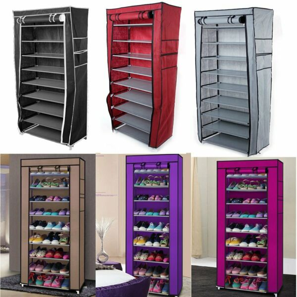 NEW 10 Tier Shoe Rack Cabinet 30 Pairs with Cover Wall Bench Shelf Shoe Tower