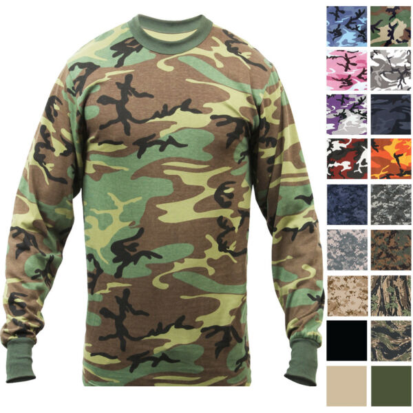 Camo Long Sleeve T Shirt Tactical Military Crew Tee Undershirt Army Camouflage $13.99