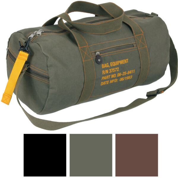 Cotton Canvas Travel Equipment Flight Carry Duffle Shoulder Bag Small or Large $24.99