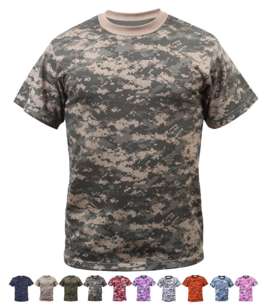 Digital Camo Tactical T Shirt Camouflage Military Tee Short Sleeve Digi Army