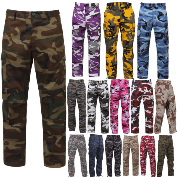 Tactical BDU Pants Camo Cargo Uniform 6 Pocket Camouflage Military Army Fatigues