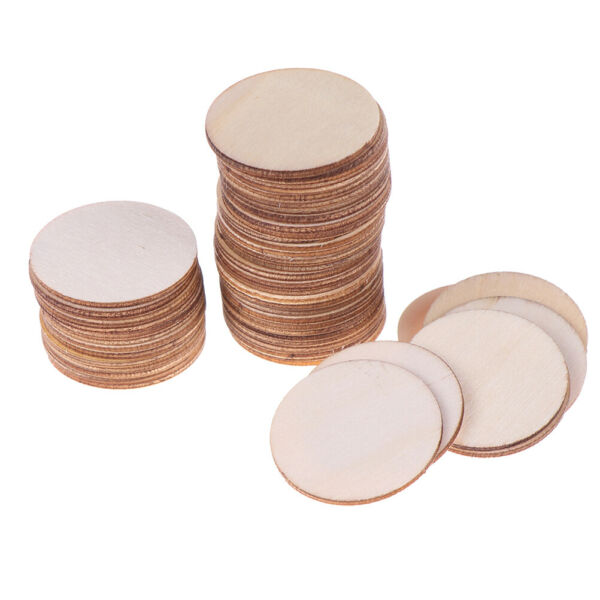 50x DIY Natural Blank Wood Pieces Slice Round Unfinished Crafts Wooden Discs  TC