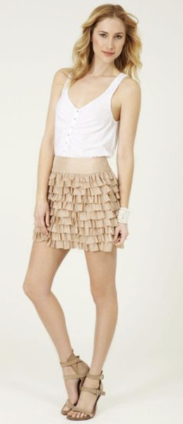💕Calypso St Barth SWEET TART 100% Silk Ruffled BRONZE Mini Skirt Skirt M $235