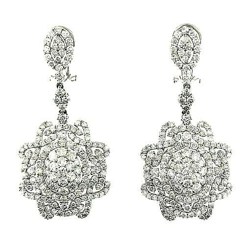 $22500  6.75 Ct White Gold Diamond Women's Fashion Drop Hanging Earrings 14 Kt