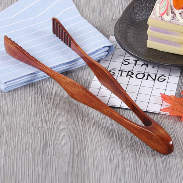Wooden Toast Tongs Toaster Bacon Cooking BBQ Food Bread Tong Kitchen Tool US