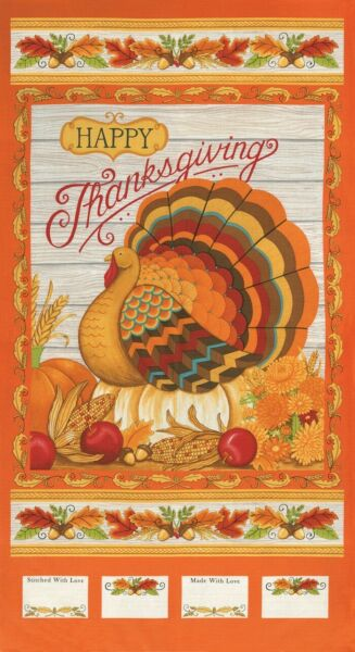 MODA Thankful Turkey Thanksgiving Autumn Cotton Fabric by Deb Strain 24quot; Panel