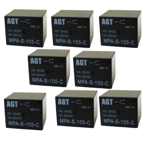 5V Relay 5VDC 10A 250VAC SPDT Power Mini Relay 10 Pack from USA