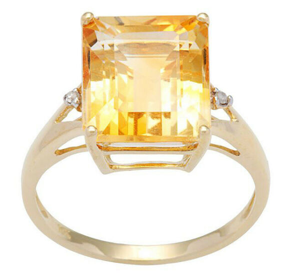 10k Yellow Gold Emerald-Cut 5.6ct Citrine and Diamond Ring
