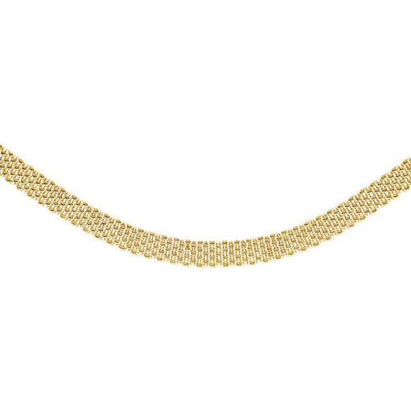 14 KT Yellow Gold Shiny Panther Brick Link Wide Necklace Heavy Flat