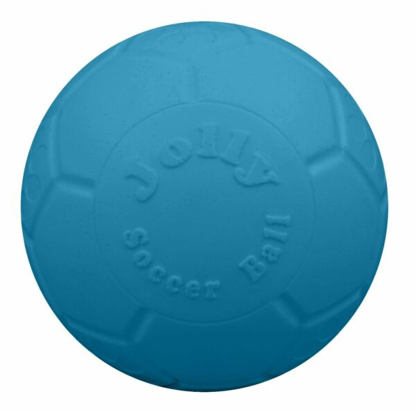 Jolly Pets Soccer Ball Blue Unscented Rubber Chew Toy for Dogs 6 inch Ocean Blue