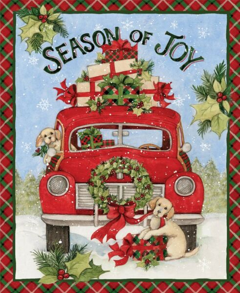 Christmas Susan Winget Red Truck Joy Cotton Fabric CP69113 36