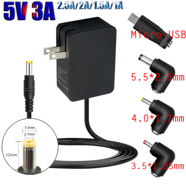 5V 3A Power Supply Adapter Cord for Led Strip Lights Security Camera LCD TVs
