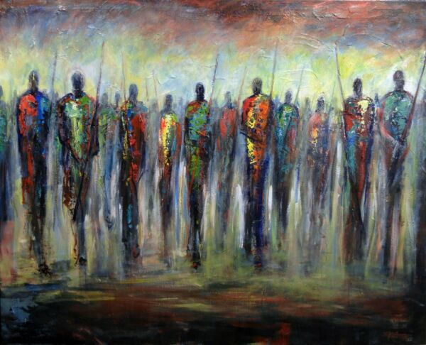 ABSTRACT art Masses People Huge ORIGINAL painting Maasai Warrior 60x48 BenWill