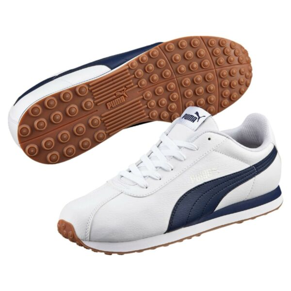 Men's Puma Turin Classic Sneakers White/Navy Blue Gum Sole Life Style 11.5 NIB