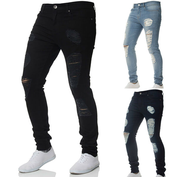 Mens Stretch Ripped Skinny Jeans Distressed Frayed Slim Fit Biker Pants Trousers
