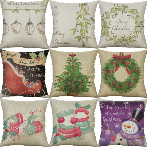 18quot; Printing Christmas snowman burger Home Decor Cotton Linen Cover pillow case $3.99