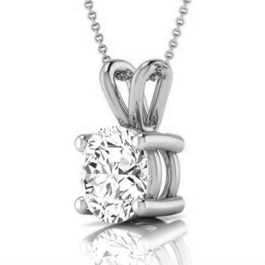 NECKLACE ROUND NATURAL 2.5 CT PENDANT WEDDING 4 PRONGS SI1 18K WHITE GOLD WOMEN
