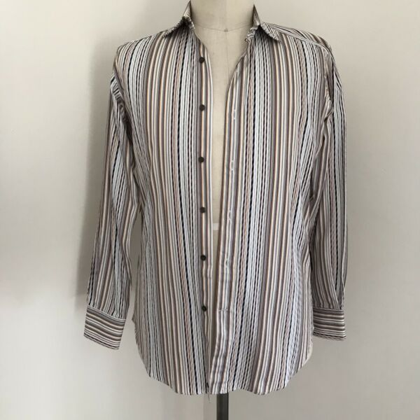 Etro Mens Shirt Striped Button Front Long Sleeve Italy 39 $98.00