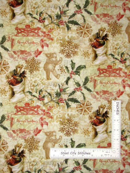 Christmas Victorian Stocking Toy Beige Cotton Fabric Springs CP69525 By The Yard