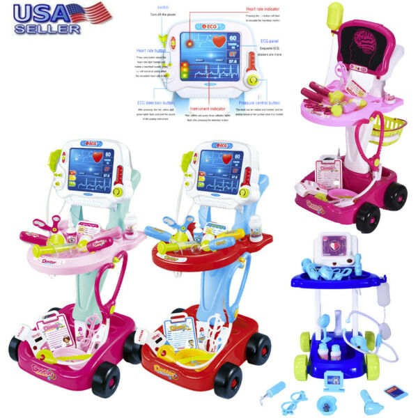 Portable Doctor Nurse Medical Trolley Toy Girl's Pretend Playset Role Play Set
