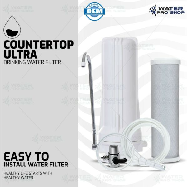 Countertop Ultra Drinking Water Filter For VOCs Cysts Pesticides Chlorine White