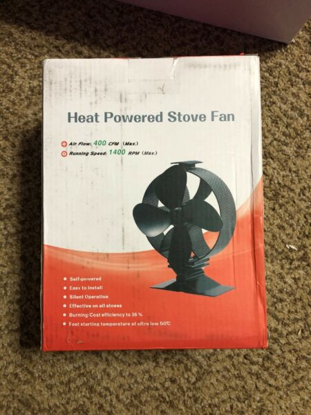 Fireplace Fans 4-Blade Heat Powered Stove Fan for Wood Log Burner Ultra Quiet