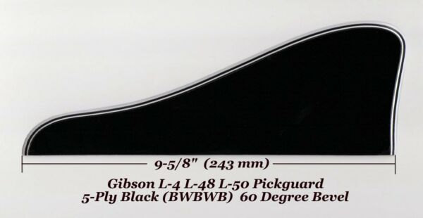 L-4 L-48 L-50 Pickguard 5-Ply Black WBracket made for Gibson Guitar Project