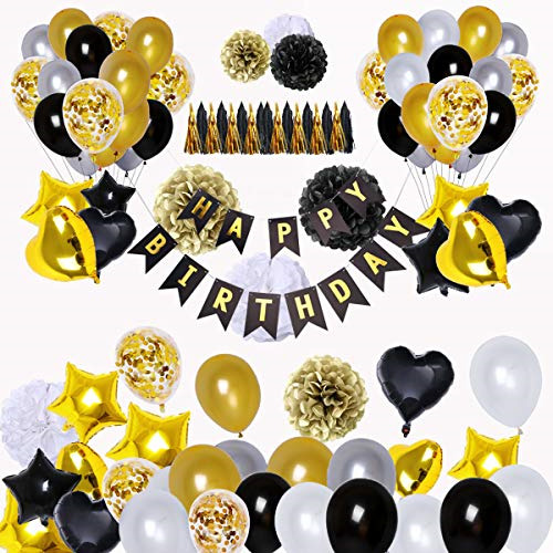 BRT Black and Gold Party Decorations90Pcs Happy Birthday Banner Star Heart ...