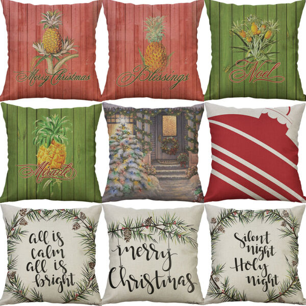 18quot; Cotton Linen Cover merry christmas Home Decoration pillow case Cushion Cover $3.99